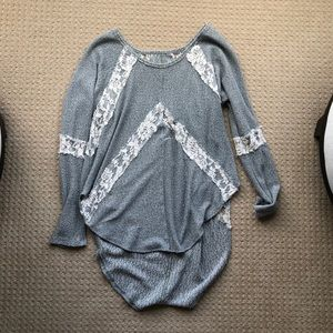 Gray knit shirt with lace. Super cute!